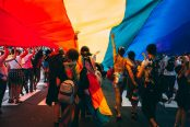 Pride celebrations - celebrating with hand waving flags